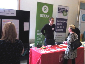 Decent Work stall at Anti-Poverty Alliance conference in Glasgow (October 2015)